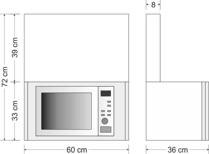 Hängeschrank mit Mikrowelle Höhe 72cm