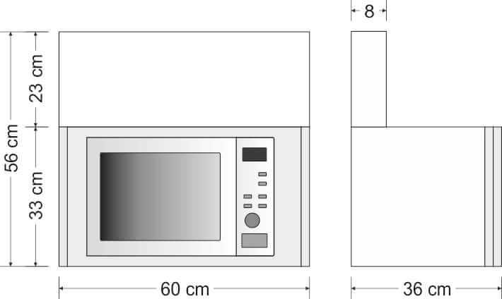Hängeschrank mit Mikrowelle Höhe 56cm